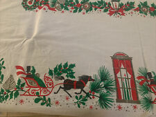 """Vintage   Mid Century Christmas Linen Tablecloth  Horse Carriage 50"""" X 62"""""""