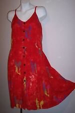 Hippie Dress S / M Red With Dolphin Batik Dyed Print Rayon Sundress 36 inch bust