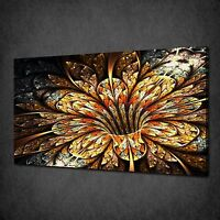 GOLDEN SHINY FRACTAL FLOWER CANVAS WALL ART PRINT PICTURE READY TO HANG