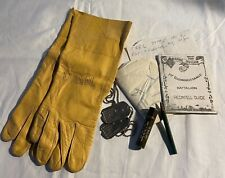 Vtg Usmc Pilot Group Dog Tags Usn B-3A Leather Flying Gloves 1St Marine Div Map