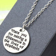 Teacher Necklace Thank You For Making A Difference Students Pendants School Gift