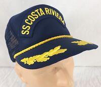 Vtg SS Costa Riviera Trucker Hat Snapback Mesh Gold Leaf Scrambled Eggs