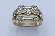Lovely Hearts Lady Ring with 0.33 Ct Round Diamonds in 14K Yellow Gold Size 7