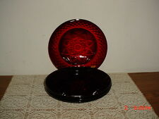 """4-PC CRISTAL D'ARQUES DEEP """"RUBY RED"""" 8"""" SALAD-SERVING PLATES/CRYSTAL/FREE SHIP!"""