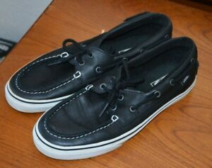 VANS ZAPATO DEL BARCO Black Leather Boat Shoes Sneakers Men's size 10.5