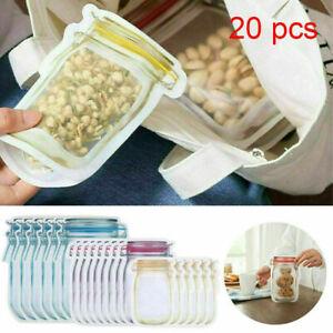Mason Jar Bags Food Storage Snack Sandwich Ziplock Reusable Airtight Seal 20pcs