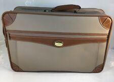 "RARE Vintage Jordache Suitcase Faux leather Tan & Brown 20""  Luggage Business"
