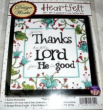 "Design Works Counted Cross Stitch Kit GIVE THANKS To The Lord 10"" x 10"""