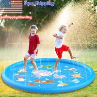 67'' Kids Sprinkler Splash Pad Wading Pool Inflatable Water Toys Swimming Mat