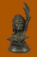 Bronze Sculpture Native Indian Chief Bust 12Lbs Western Figurine Statue Figure