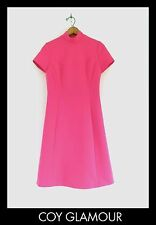 Vtg 60s Hot Pink MOD Space Age Retro Gogo Twiggy Tailored Shift Mini Dress S M