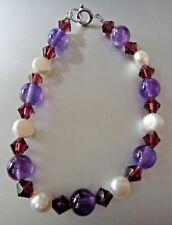 "7.5"" 8mm round Purple Amethyst, 6mm Crystals, FW Pearl Sterling Silver Bracelet"