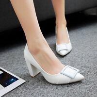 Womens Slip On Pointed Toe Patent Leather Pumps Chunky High Heels Solid Shoes