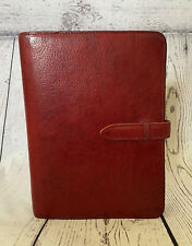 Vintage Red leather Franklin Covey Softcover 7 ring binder & extra set of rings