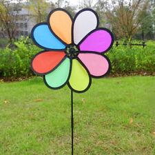Colorful Rainbow Dazy Flower Spinner Wind Windmill Garden Yard Outdoor Decor rx