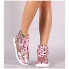 Forever ULTRA-69 Pink Glitter Mirror Metallic Trim Athleisure High Top Sneaker