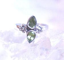 Silberring 55 Schmal Elegant Handarbeit Peridot Grün Facettiert Ring Silber