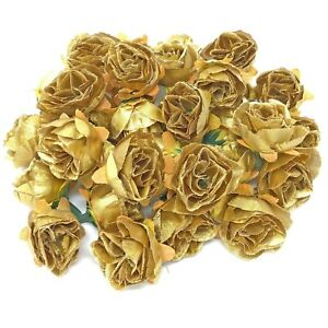 Gold Rose Bud Decorative Synthetic Flowers (Faux Silk) - UK SELLER