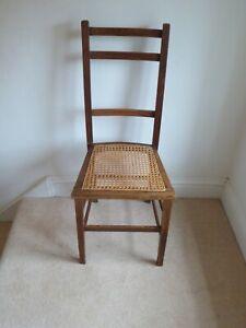 Vintage Antique Edwardian Oak Cane Bedroom Chair.