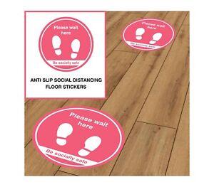 Social Distancing Anti Slip Floor Stickers D3 Pink - Decal Shop School Office