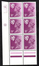 Scotland Waddington 31p Violet Cyl 1A1B x 6 Dot Mnh