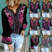 Womens Floral Long Sleeve Loose Tops Boho Hippie Gypsy Tunic Casual Blouse Shirt