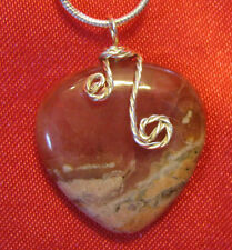 Rhodochrosite heart sp wire wrap & snake chain necklace natural stone pendant