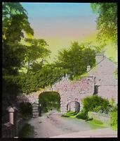 TINTED Glass Magic Lantern Slide NORMAN ARCHES BOLTON ABBEY DATED 1908 PHOTO