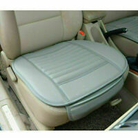 Universal Breathable Car Front Seat Cover Bamboo Cushion Pad PU Leather Grey