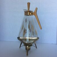 Vtg triangular glass coffee pot carafe with burner stand &  lid atomic MCM