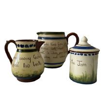 More details for torquay pottery x3 small jug large jug jam pot with lid devon devonshire tpcs