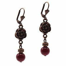 Dangle Beaded Fashion Earrings Red Jasper & Antiqued Copper Grace Of New York