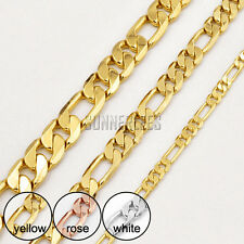 Gents Ladies Figaro Link Chain 18K Yellow Rose White Gold Filled Necklace C26N