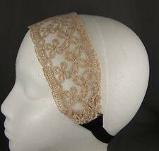"Cream Off White Gold 2.5"" wide stretch Lace headband hair band accessory"