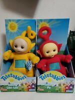 "1998 Hasbro Playskool 16"" Talking Teletubbies Po & Laa-Laa - WORKS"