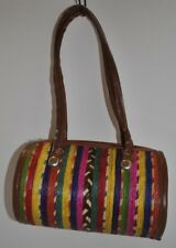 Mexican Colorful Woven Straw Basket Round Cylinder Bag Purse NEW
