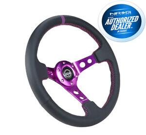 New NRG Deep Dish Steering Wheel 350mm Black Leather Purple Center RST-006PP