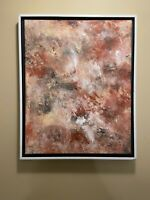 Pink and beige abstract original modern acrylic canvas painting 16x20 ships free