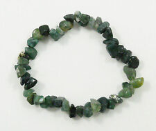 AGATE GREEN MOSS STRETCH BRACELET Stone Beads Chips Crystal Healing Reiki