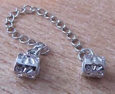 SCREW STOPPER BEADS WITH SAFETY CHAIN SILVER PLATE FITS BEAD CHARM BRACELET
