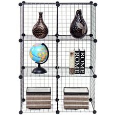 DIY 6 Cube Wire Grid Shelves Bookcase Storage Cabinet Shelve Home Organizer