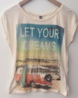Ladies Cream Rolled Sleeve T-Shirt Size S Pimkie<NH7635