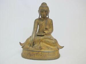 "Gold Gilt 19th Century BRONZE Mandalay Sitting BUDDHA Sculpture 11"" Figurine"