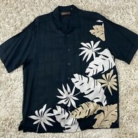 Cubavera Men's Large Black Viscose Rayon Hawaiian Floral Short Sleeve Camp Shirt