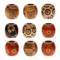 100pcs gemischte große Loch Holzperlen für Makramee Schmuck Charms Crafts Making