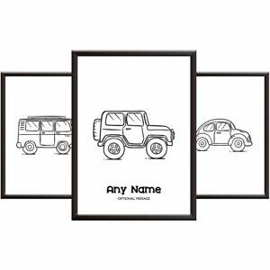 Personalised Nursery Posters - CARS - Boys Bedroom Wall Art Print Set Son Nephew