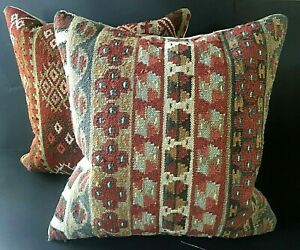 Pottery Barn Kilim Wool Pillows Down Inserts Set/2