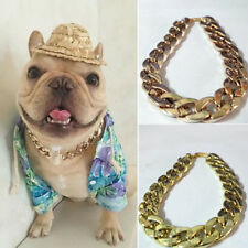 AM_ UK_ PET PUPPY DOG CHAIN COLLAR PUNK GOLD CAT WIDE NECKLACE COLLAR ADJUSTABLE