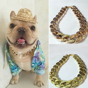 AM_ UK_ PET PUPPY DOG CHAIN COLLAR PUNK GOLD  WIDE NECKLACE COLLAR ADJUSTABLE