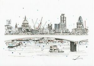 London Art A3 Print of Waterloo Bridge Hand Sketched
